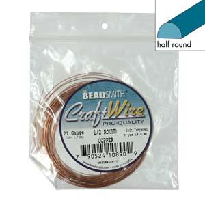 Beadsmith Half Round Wire 21ga Natural Copper per 7yd Coil