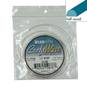 Beadsmith Half Round Wire 21ga Silver per 4yd Coil