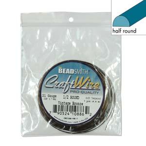 Beadsmith Half Round Wire 21ga Vintage Bronze per 7yd Coil