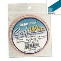 Beadsmith Square Jewellery Wire 21ga Rose Gold per 4yd Coil