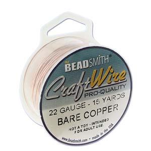 Beadsmith Jewellery Wire 22ga Bare Copper per 15yd Spool