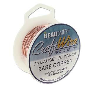 Beadsmith Jewellery Wire 24ga Natural Copper per 20yd Spool