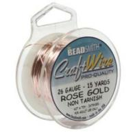 Beadsmith Wire 26ga Rose Gold per 15yd Spool
