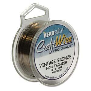 Beadsmith Jewellery Wire 22ga Vintage Bronze per 15yd Spool