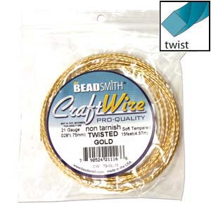 Beadsmith Square Twist Wire 21ga Gold per 15ft Coil
