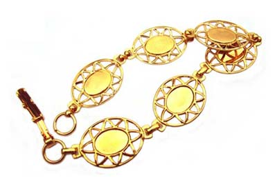 "Gold Plated 7.5"" Bracelet Base Settings for 10x8mm Oval Cabochons x1"