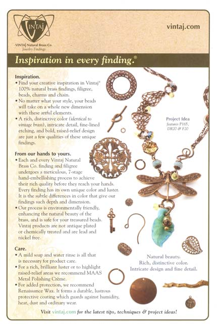 Vintaj Natural Brass - Inspiration in every Finding - Care/Info Sheet