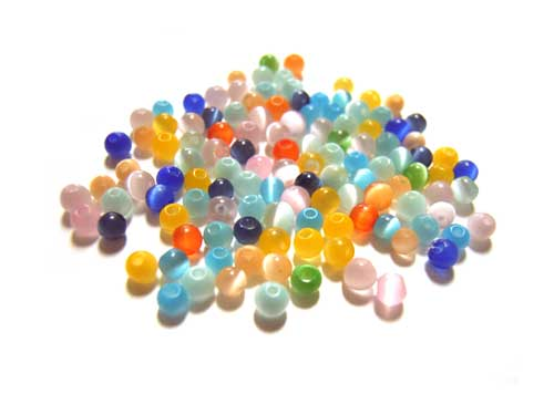 Cats Eyes Fibre Optic Round Glass Beads 2mm ~ Soup Mix