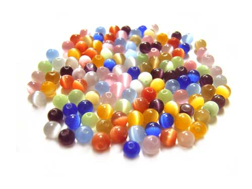 Cats Eyes Fibre Optic Round Glass Beads 3mm ~ Soup Mix