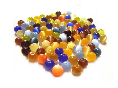 Cats Eyes Fibre Optic Round Glass Beads 4mm ~ Soup Mix