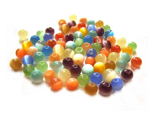 Cats Eyes Fibre Optic Round Glass Beads 5mm ~ Soup Mix