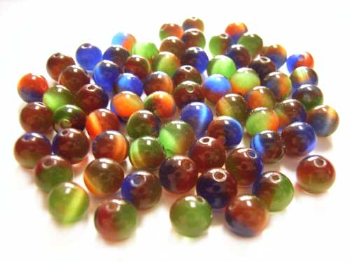 Cats Eyes Fibre Optic Round Glass Beads 6mm ~ Tri-Colour