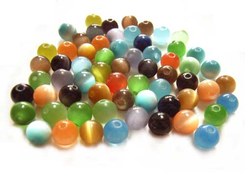 Cats Eyes Fibre Optic Round Glass Beads 6mm ~ Soup Mix 19.3 grams (x60pc approx)