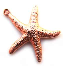 Pure 100% Copper 20mm Starfish Double-sided Charm Pendant x1