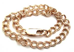 "Gold Filled Charm Bracelet - Double Links Clasp 7.5"" - 19cm"