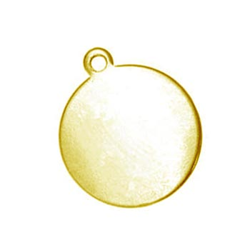 Brass Circle Tag Drop, 14.5mm 5/8 inch 24ga Metal Stamping Blank x1