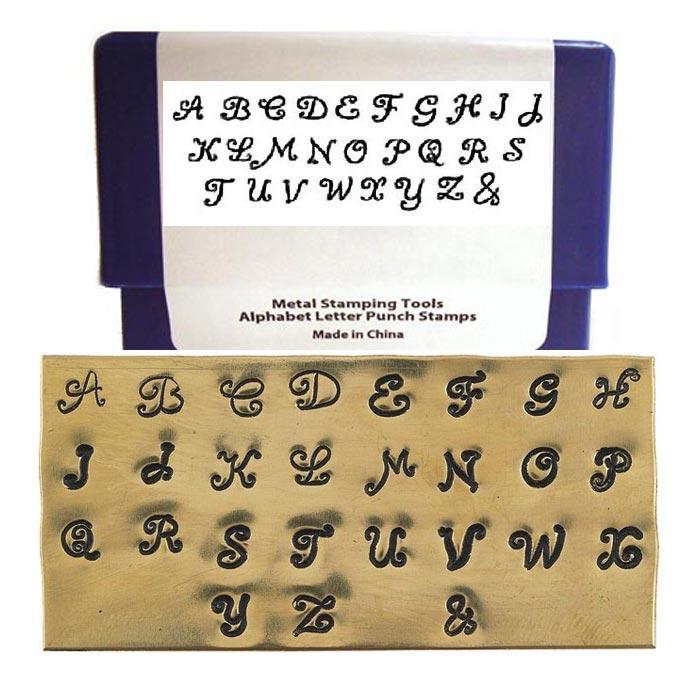 Clarissa Scroll Font 3mm 1/8 inch Alphabet Stamp Set, Upper Case