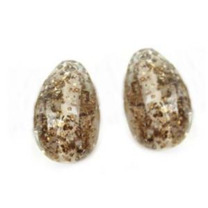 Glitter Flakes Earring Egg Drops - Artisan Glass Lampwork Beads (x2 bead set)