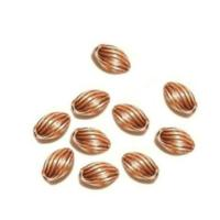 Pure 100% Copper 3x5mm Oval Corrugated Beads x20