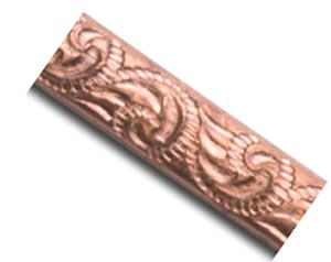 Copper 2.9mm Small Leaf Scroll Patterned Wire - 14g per half ft - 15cm