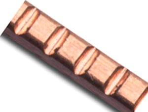 Copper 2.1mm Flat Square Knotched Patterned Wire - 12g per half ft - 15cm