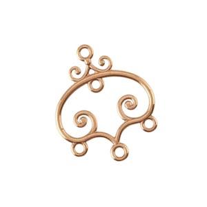 Pure 100% Copper 22.5x19.5mm Scroll 3-Strand Chandelier Pendant x1