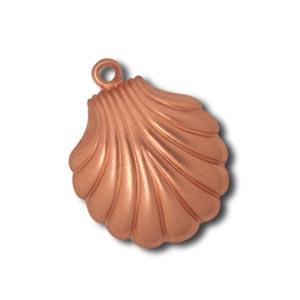 Pure 100% Copper 14.5x18.4mm Clam Shell Charm Pendant x1