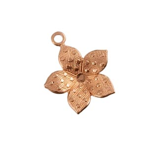 Pure 100% Copper 12.5x14.2mm Spotted Flower Charm x1