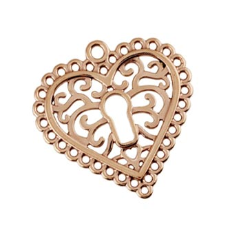 Pure 100% Copper 27.2x27.7mm Filigree Heart Chandelier Pendant x1