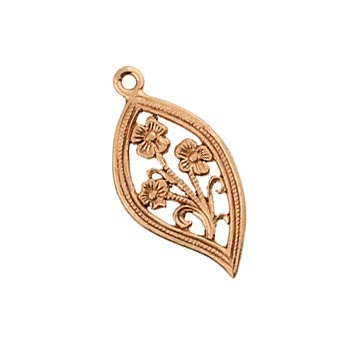 Pure 100% Copper 20.4x10.1mm Filigree Leaf Charm x1