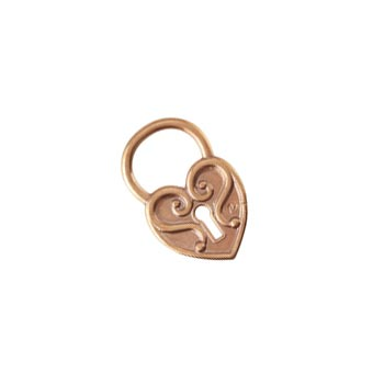 Pure 100% Copper 20.6x13.4mm Heart Padlock Charm x1