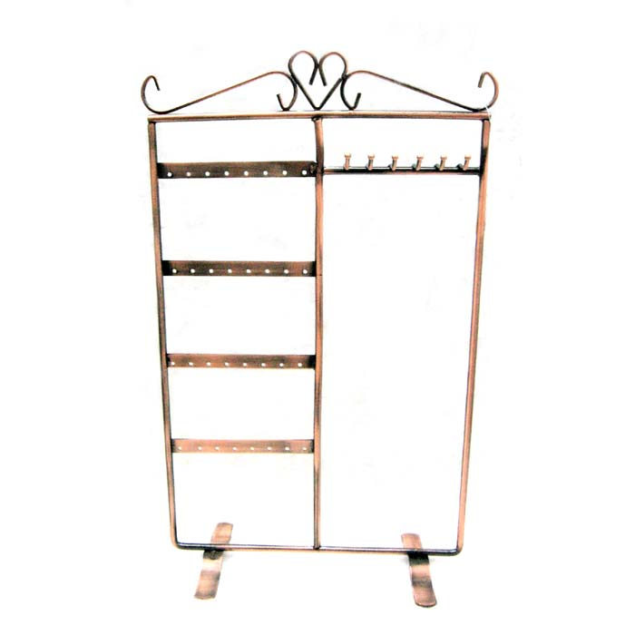 Necklace/Bracelet and Earring Jewellery Display Stand - Antiqued Copper 35x21cm