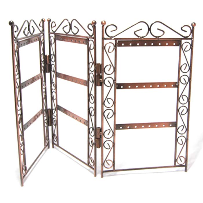 Earring Jewellery Display Stand - Antiqued Copper 46x26cm