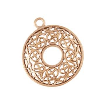 Pure 100% Copper 24.2x27.6mm Round Filigree Donut Pendant x1