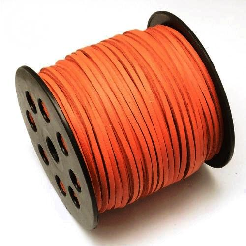 Faux Leather Leatherette Flat Cord 2.7-3mm Burnt Orange per metre