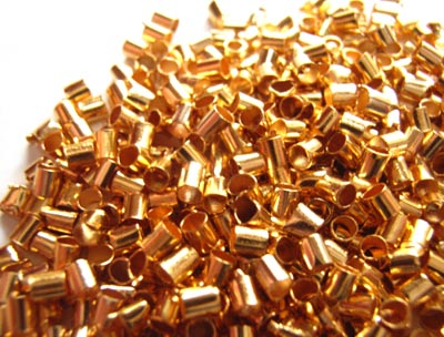 Gold Crimp Tube Beads Size 2x2mm - 5 grams (approx 500)