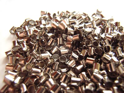 Platinum Tone Crimp Tube Beads Size 2x2mm - 5 grams (approx 500)