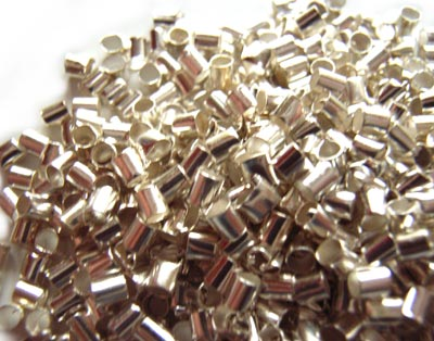 Silver Crimp Tube Beads Size 2x2mm - 5 grams (approx 500)