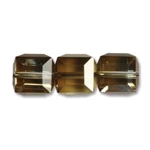 Swarovski Crystal 6mm Cube Beads - Crystal Bronze Shade x1