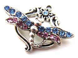 Silver tone Crystal Rose Sapphire Summer Dragonfly Toggle