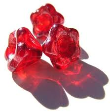 Czech Glass Baby Bell Flower Beads 6x4mm Ruby Lustre x50