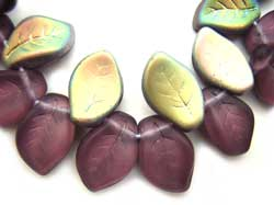 Czech Leaf Beads 14x9mm Mid Amethyst Vitral Bead x1