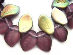 Czech Leaf Beads 14x9mm Mid Amethyst Vitral Bead x1