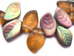 Czech Leaf Beads 14x9mm Topaz Vitral Bead x1