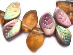 Czech Leaf Beads 14x9mm Topaz Vitral Bead x1