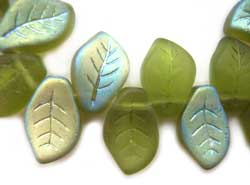 Czech Leaf Beads 14x9mm Olivine AB  Bead x1
