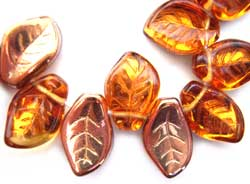 Czech Leaf Beads 14x9mm Copper Medium Topaz Bead x1