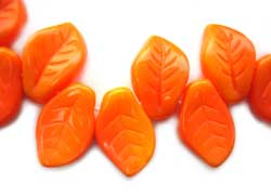Czech Leaf Beads 14x9mm Autumn Blaze Bead x1