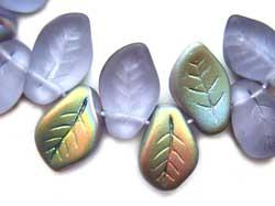Czech Leaf Beads 14x9mm Alexandrite Vitral Bead x1