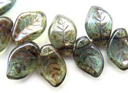 Czech Leaf Beads 14x9mm Lustre Transparent Green Bead x1